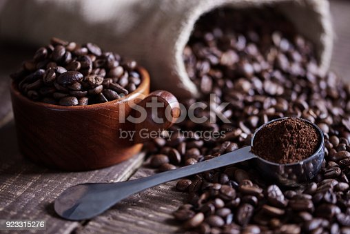 istock Beans of coffee and jute bag 923315276