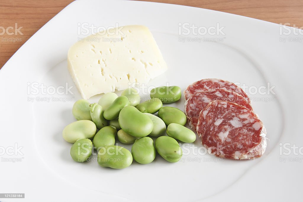beans salami and cheese royalty-free stock photo