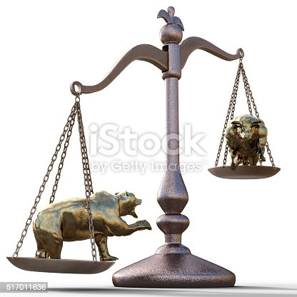 bear and bull on the scales on a white background.  foreign exchange concept