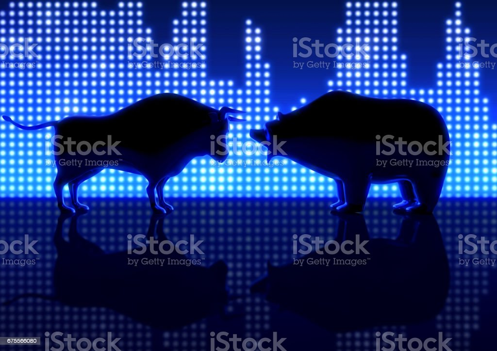 Bear And Bull Silhouette Graphs stock photo