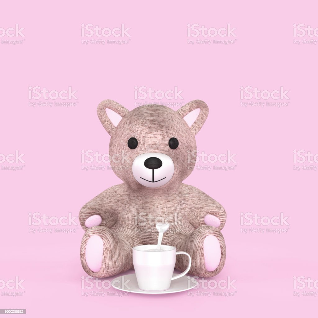 Bear and milk cup on pink pastel color background royalty-free stock photo