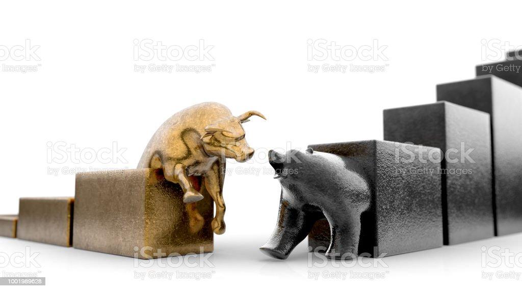 Bear & Bull Statuettes stock photo