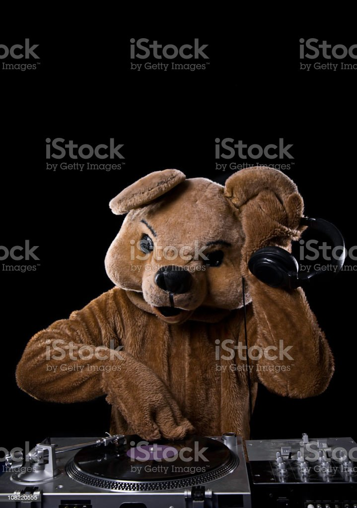 Bear Costume DJ with Turntable and Headphones royalty-free stock photo