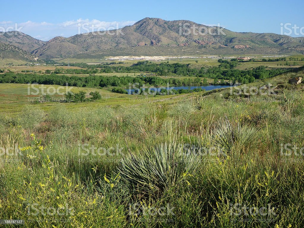 Bear Creek Lake Park grasslands and foothills Colorado stock photo