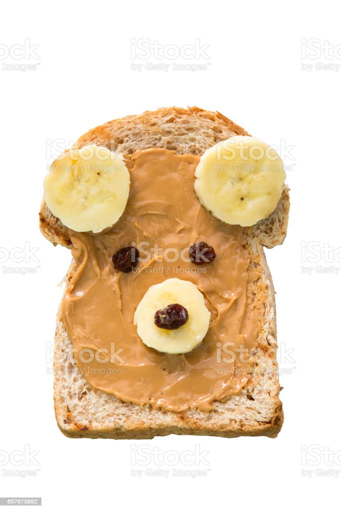 Bear face shape Whole wheat bread with peanut butter stock photo