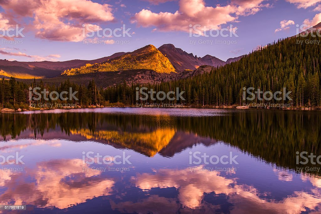 Bear Lake in Rocky Mountain National Park at Sunset stock photo