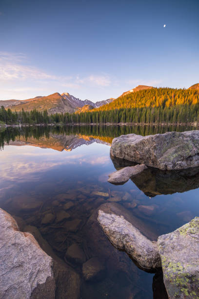 bear lake - estes park foto e immagini stock