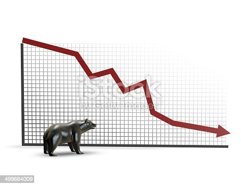 Illustration of the stock market on a graph, going down.  The graph is set against a white background and features a black border running in an vertical and horizontal direction.  There is a small ornament of a black bear standing in front of the graph.  The graph is made up of small black squares that begin to fade to the right hand side of the graph.  There is a red arrow that runs along the graph to show the direction of the stock market.  The arrow starts off at the top left hand side of the graph and runs down to the bottom right hand side.