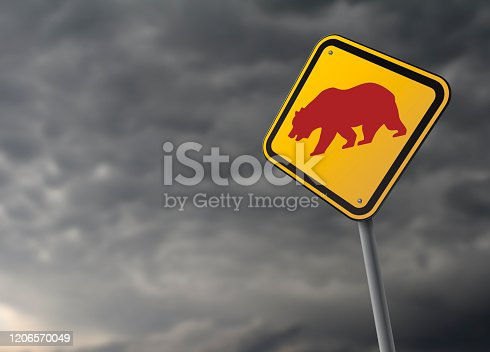 Road sign about bear market