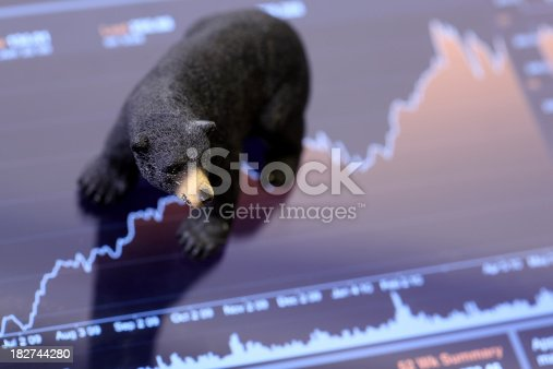 shot of figurine bear on stock chart