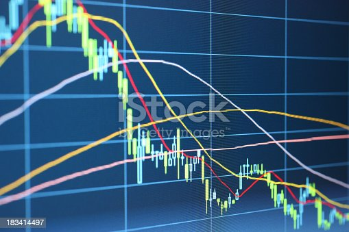 Close-up of LCD screen displaying stock market data, showing a downward trend.