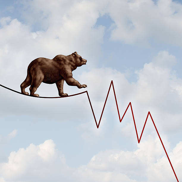 bear market risk - bearmarkt stockfoto's en -beelden