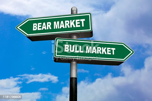 Two direction signs, one pointing left (Bear Market), and the other one, pointing right (Bull Market).