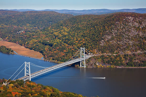 Bear Mountain Bridge and The Hudson River stock photo