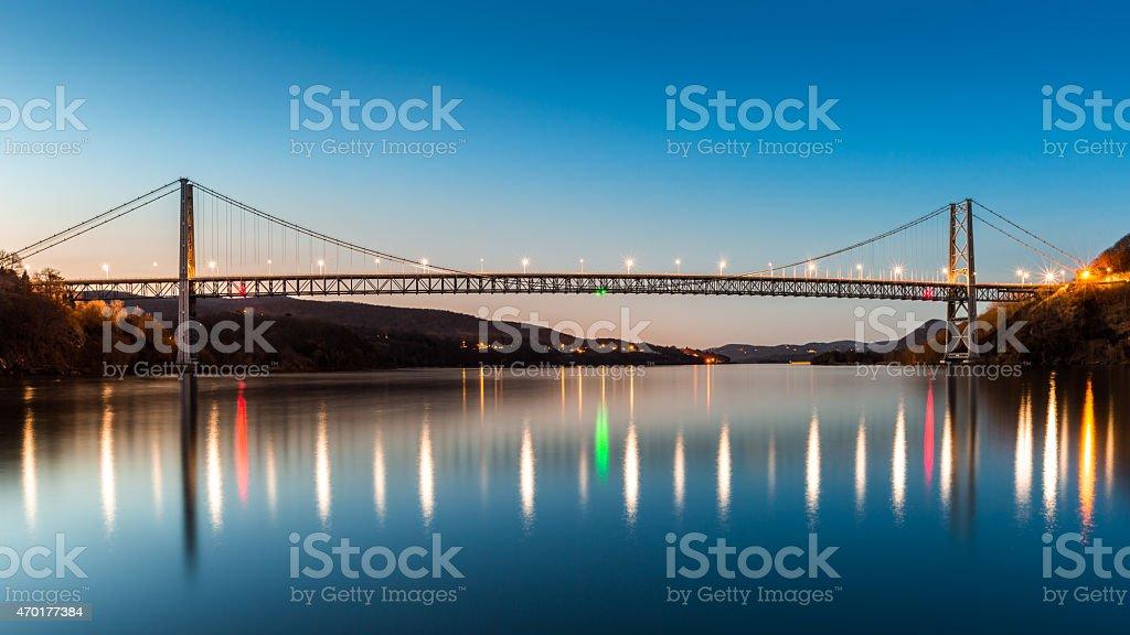 Bear Mountain Bridge at dusk. stock photo