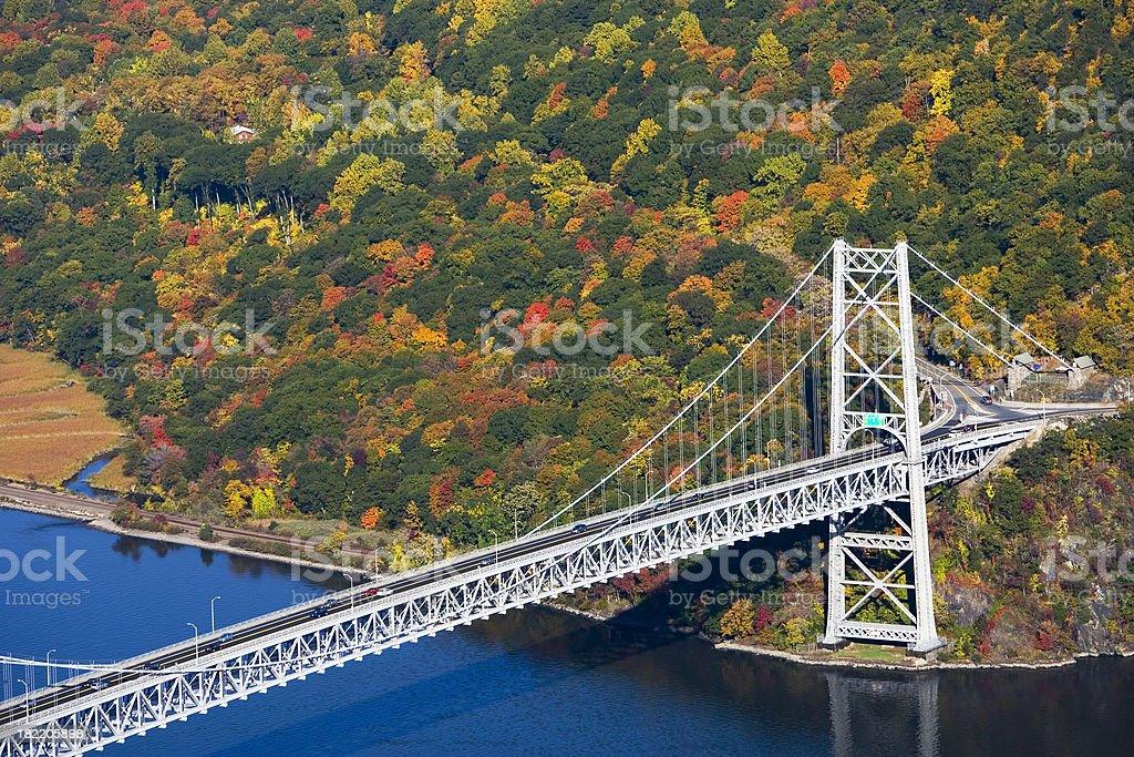 Bear Mountain bridge over Hudson River in Autumn stock photo