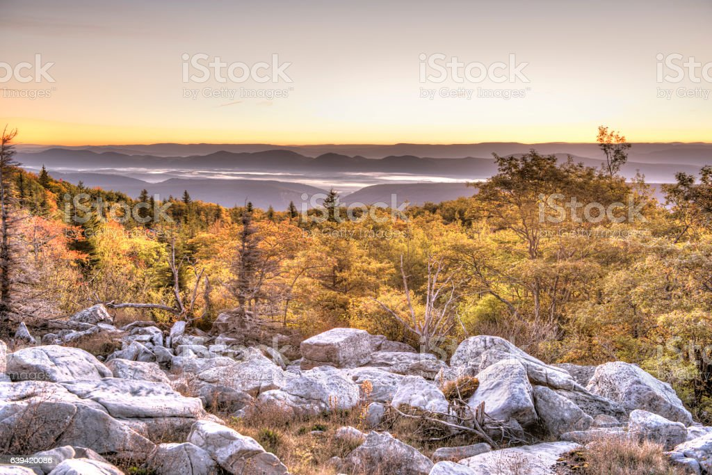 Bear rocks sunrise during autumn with rocky landscape stock photo