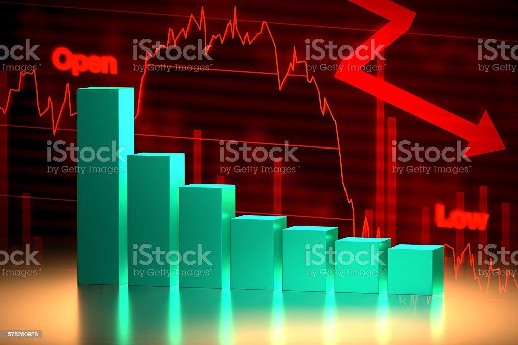 Bear Stock Market Chart, 3D Rendering stock photo