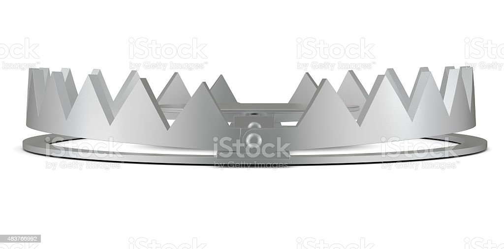 Bear trap on white without chain stock photo