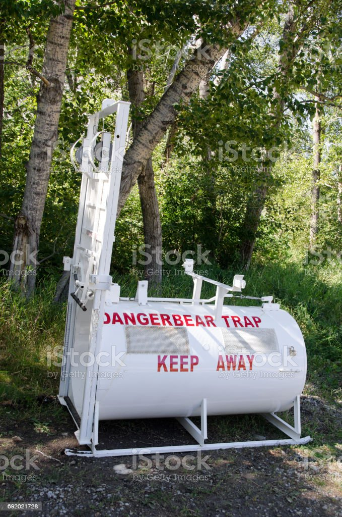 Bear trap with bait for relocating bear stock photo