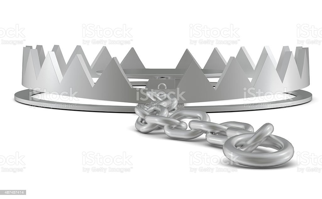 Bear trap with chain on white, rear view stock photo