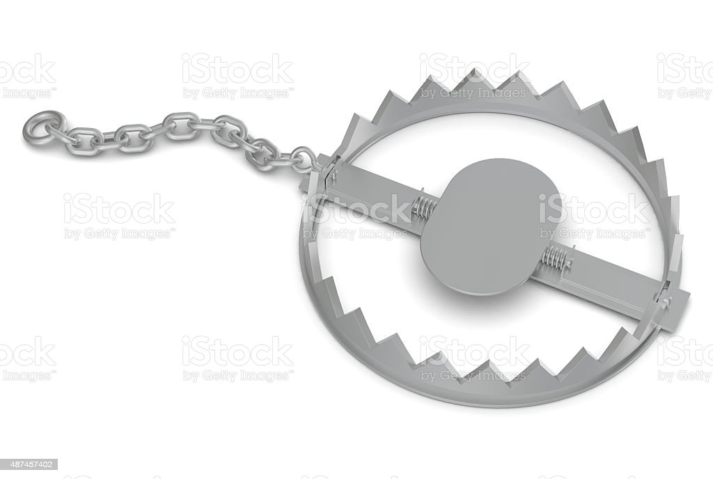 Bear trap with chain stock photo