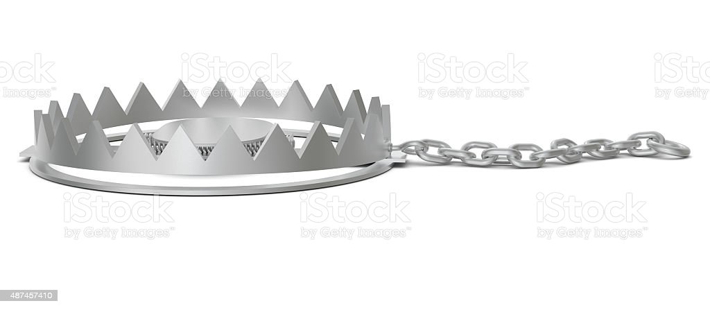 Bear trap with chain, side view stock photo
