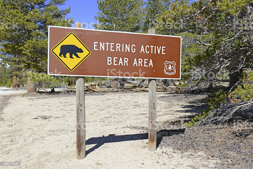 Bear Warning Sign in the Wilderness stock photo