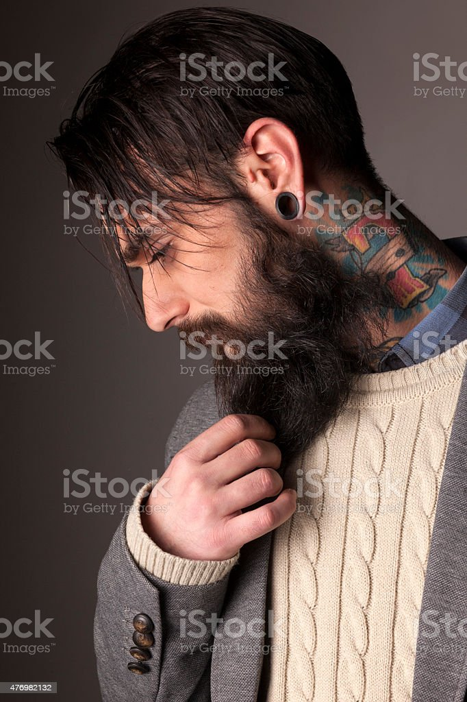 beard and tatoos stock photo