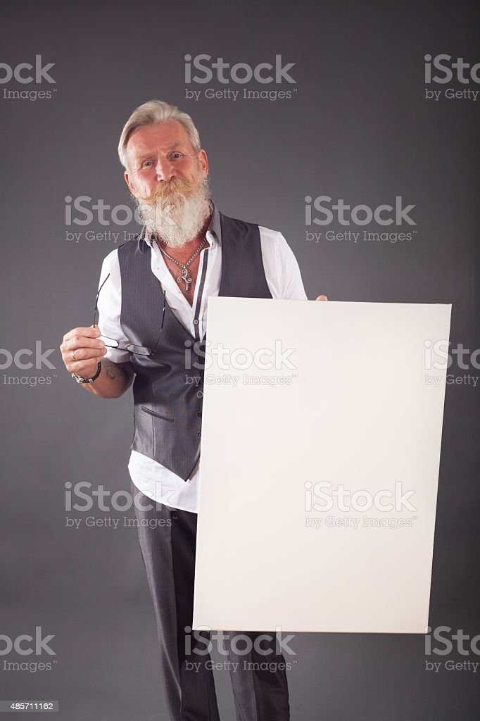 Beard man with a white board stock photo