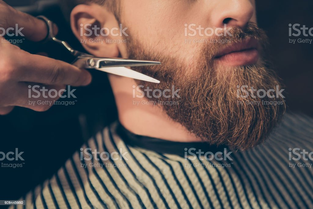 Beard styling and cut. Close up cropped photo of a styling of a red beard. So trendy and stylish! Advertising and barber shop concept stock photo