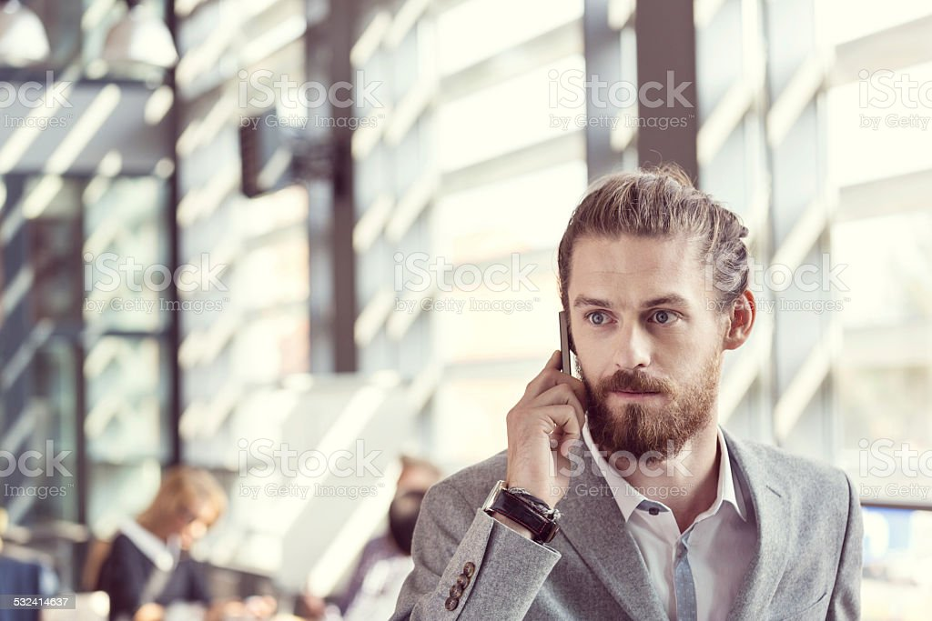 Bearded businessman talking cell phone Portrait of bearded businessman wearing grey suit talking on smart phone in the office. 2015 Stock Photo