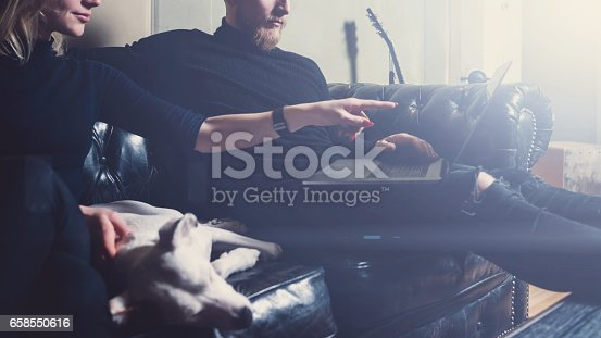 istock Bearded coworker working at the home.Man sitting in vintage sofa,using contemporary notebook.Woman pointing hand to laptop screen.Horizontal,visual effects. 658550616