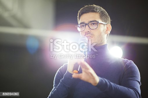 istock Bearded Designer Making Presentation 836594060