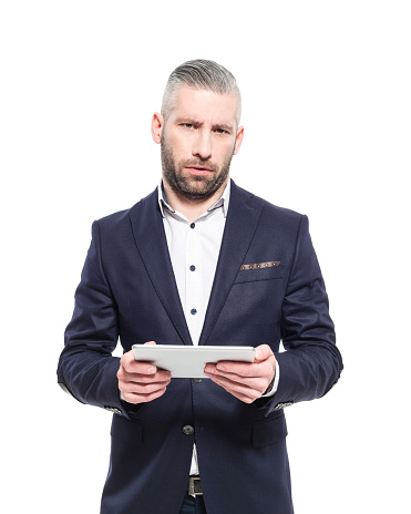 Bearded Grey Hair Elegant Businessman Holding Digital Tablet Stock Photo - Download Image Now