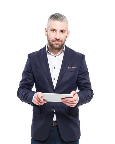 Bearded Grey Hair Elegant Businessman Holding Digital Tablet Stock Photo - Download Image Now