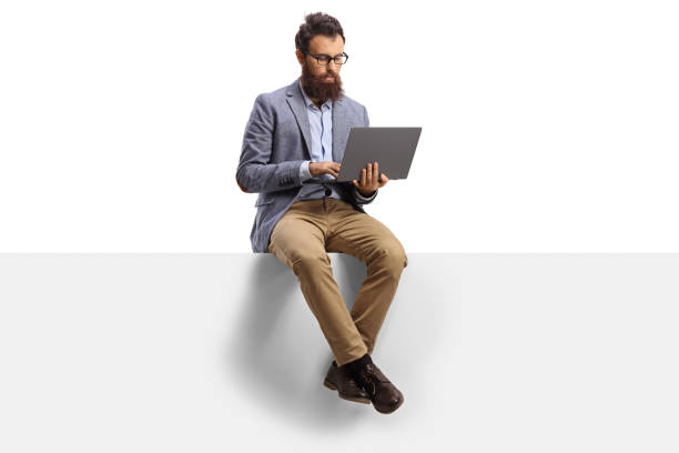 Bearded guy with on a laptop sitting on a panel Bearded guy with on a laptop sitting on a panel isolated on white background sitting stock pictures, royalty-free photos & images