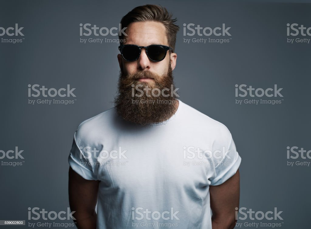 Bearded handsome man with sunglasses stock photo