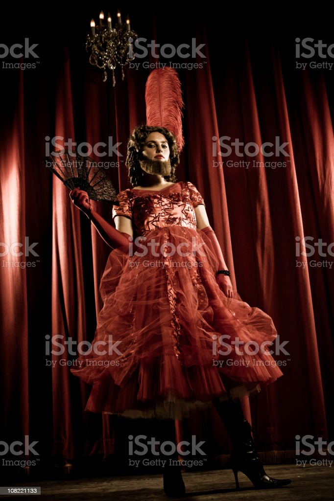 Bearded Lady with attitude stock photo