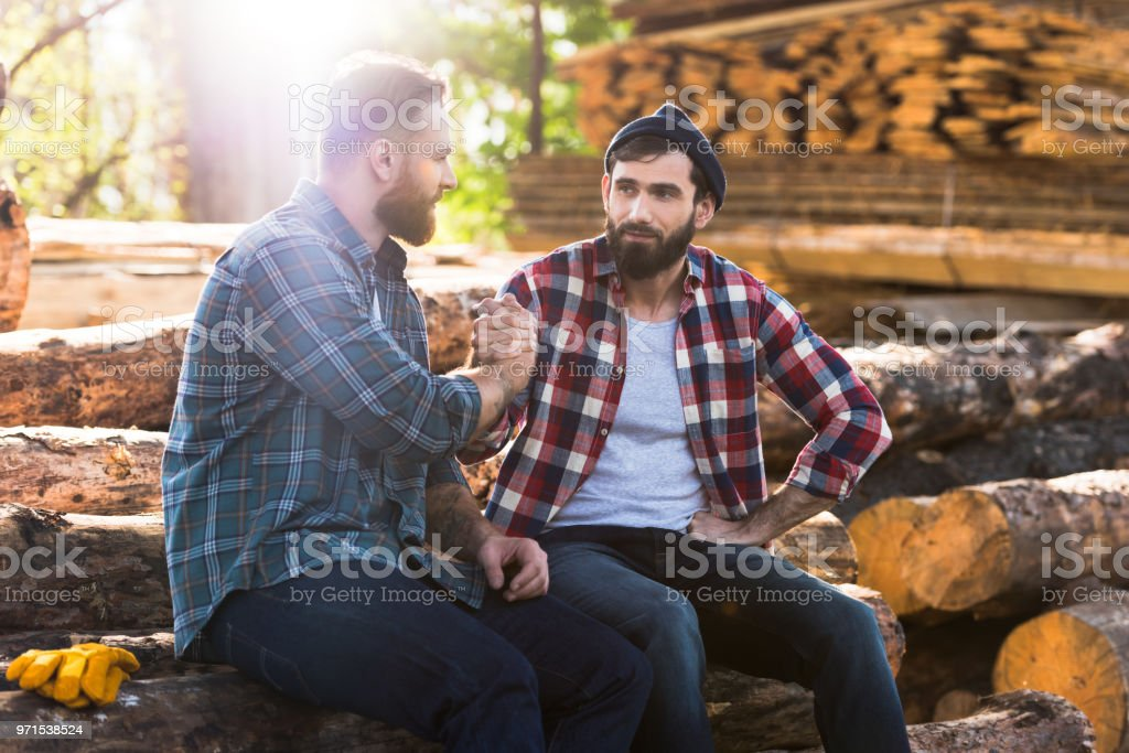 8bcdfc85843 bearded lumberjacks sitting on logs and shaking hands at sawmill  royalty-free stock photo