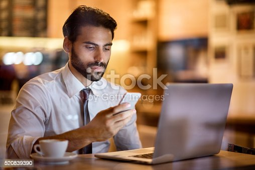 istock Bearded man and texting messages 520839390