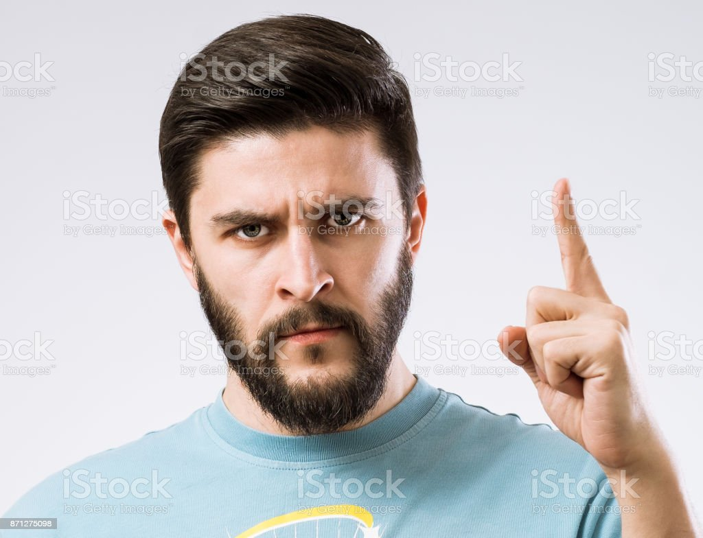 Bearded man facial emotions series stock photo