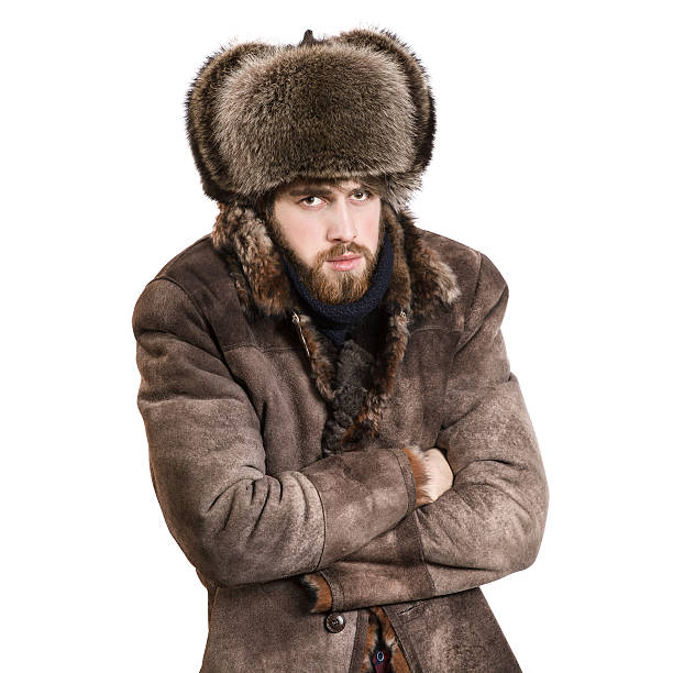 Bearded man feel cold stock photo