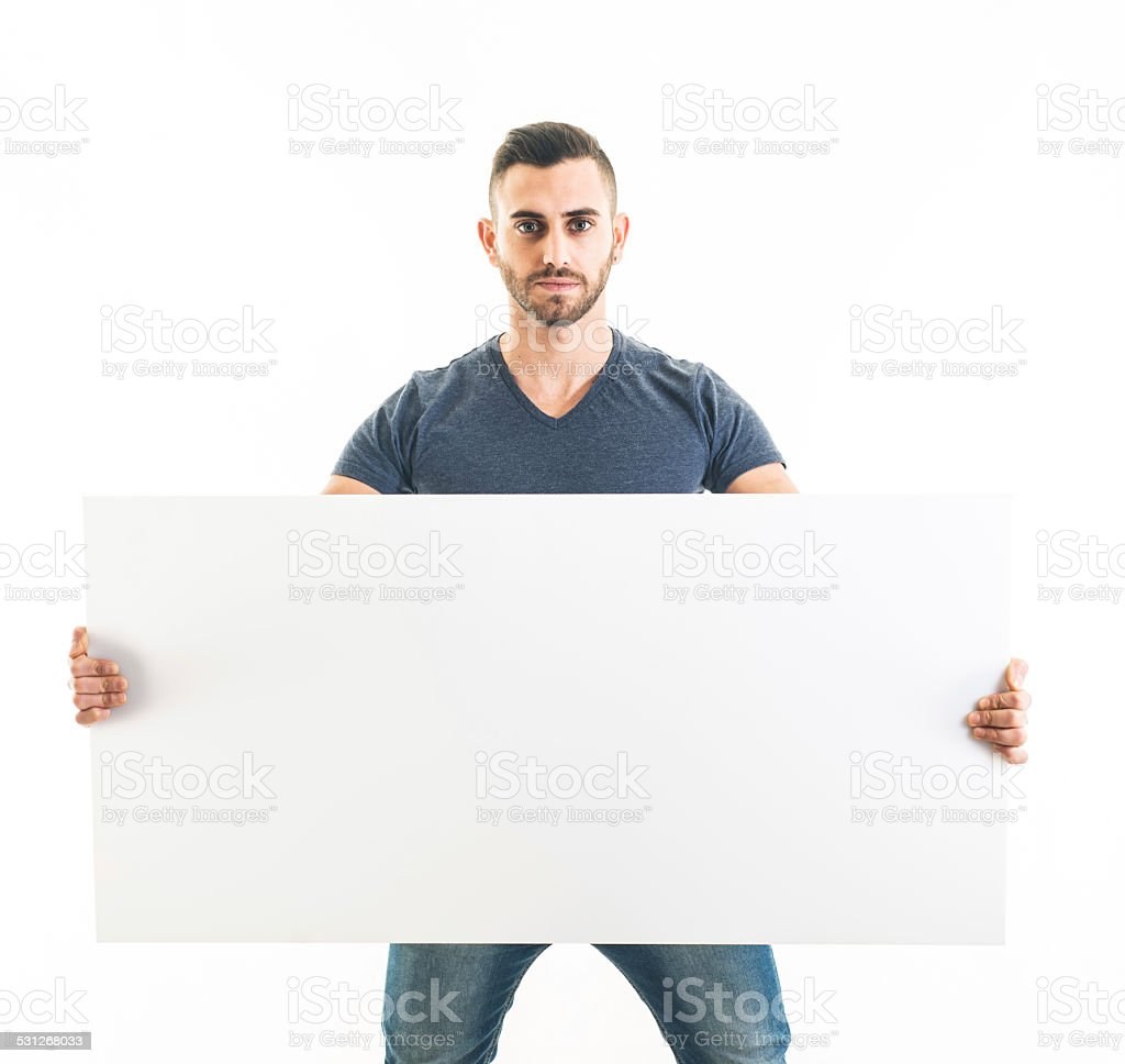 Bearded Man Holding a Blank Sign stock photo