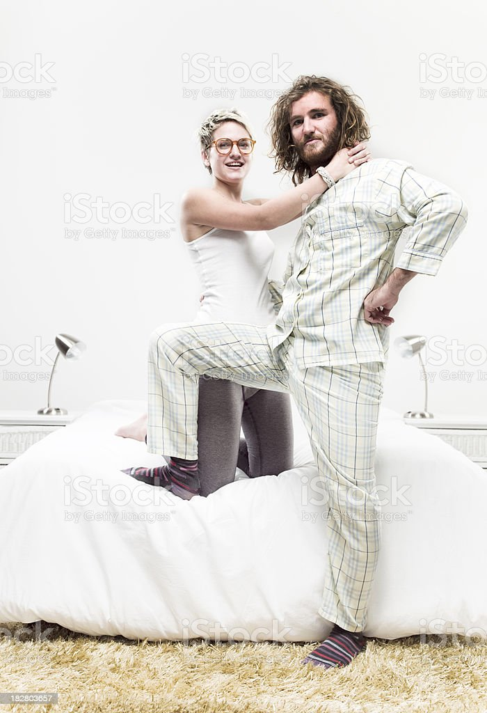 Bearded man in the Bedroom stock photo