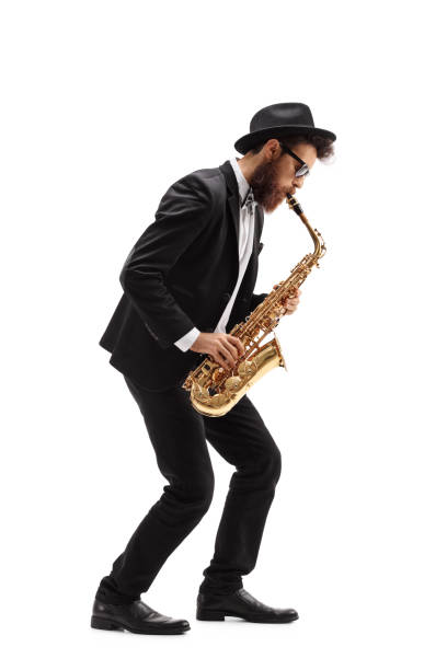 Bearded man playing a saxophone – Foto