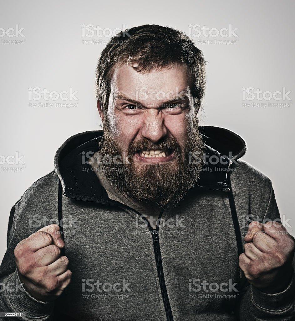 bearded man, portrait, anger, serious, stock photo