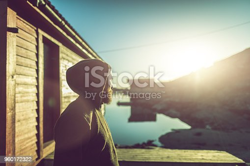 istock Bearded man portrait: by a fjord 960172322