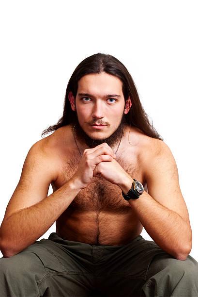 Bärtiger Mann mit nackten Oberkörper. – Foto