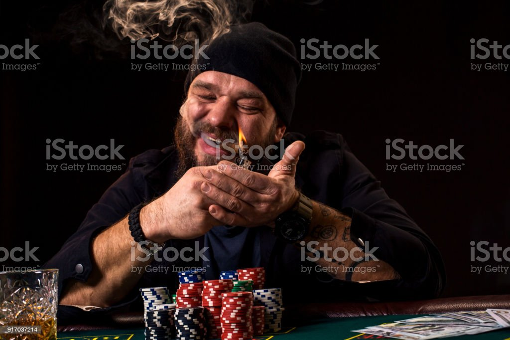Magnificent Bearded Man With Cigar And Glass Sitting At Poker Table In A Home Remodeling Inspirations Basidirectenergyitoicom